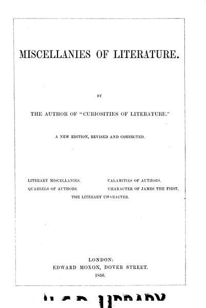 Download Miscellanies of Literature Book