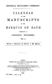 Calendar of the Manuscripts of the Marquis of Bath, Preserved at Longleat, Wiltshire: The Harley papers. 1516-1785.-v. 3. The Prior papers.-v.4. Seymour papers, 1532-1686