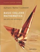 Basic College Mathematics  An Applied Approach  Student Support Edition PDF