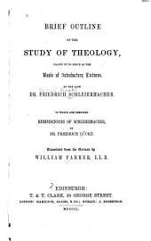 Brief Outline of the Study of Theology: Drawn Up to Serve as the Basis of Introductory Lectures
