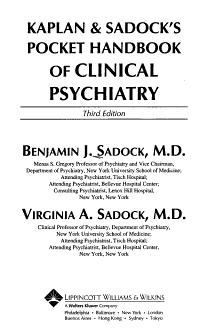 Kaplan   Sadock s Pocket Handbook of Clinical Psychiatry