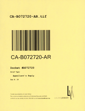 California. Court of Appeal (2nd Appellate District). Records and Briefs: B072720, Appellant's Reply