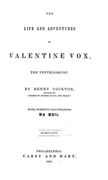 Download The Life and Adventures of Valentine Vox  the Ventriloquist Book