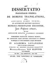 Dissertatio inauguralis juridica de dominii translatione