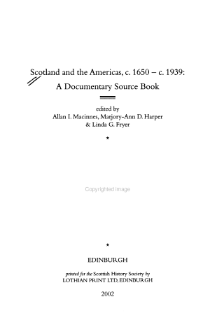 Scotland and the Americas, C. 1650 - C. 1939