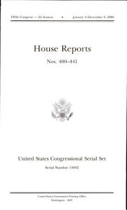 United States Congressional Serial Set, Serial No. 15052, House Reports Nos. 400-441