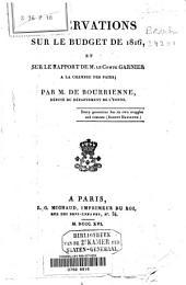 Observations sur le budget de 1816, et sur le rapport de M. le Comte Garnier à la Chambre des Pairs