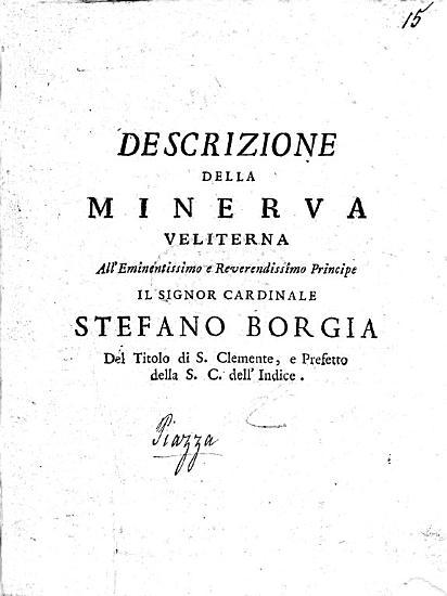 Descrizione della Minerva Veliterna  etc PDF