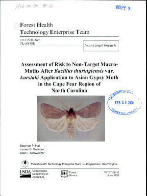 Assessment of Risk to Non target Macro moths After BTK Application to Asian Gypsy Moth in the Cape Fear Region of North Carolina