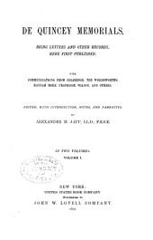 Memorials: Being Letters and Other Records Here First Published ; with Communications from Coleridge, the Wordsworths, Hannah More, Professor Wilson, and Others, Volume 1