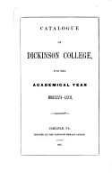 Catalogue and Register of Dickinson College PDF