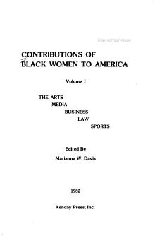 Contributions of Black Women to America  The arts  business   commerce  media  law  sports PDF