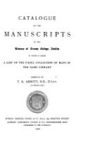 Catalogue of the Manuscripts in the Library of Trinity College  Dublin  to which is Added a List of the Fagel Collection of Maps in the Same Library PDF