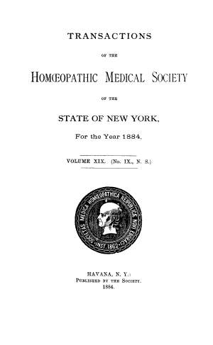 Transactions of the Hom  opathic Medical Society of the State of New York