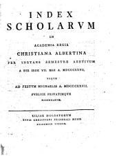 Index scholarum in Academia Regia Christiana Albertina