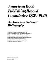 American Book Publishing Record Cumulative  1876 1949 PDF