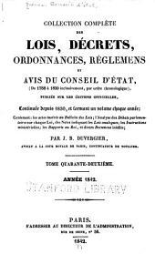 Collection complète des lois, décrets d'intérêe général, traités internationaux, arrêtés, circulaires, instructions, etc: Volume42