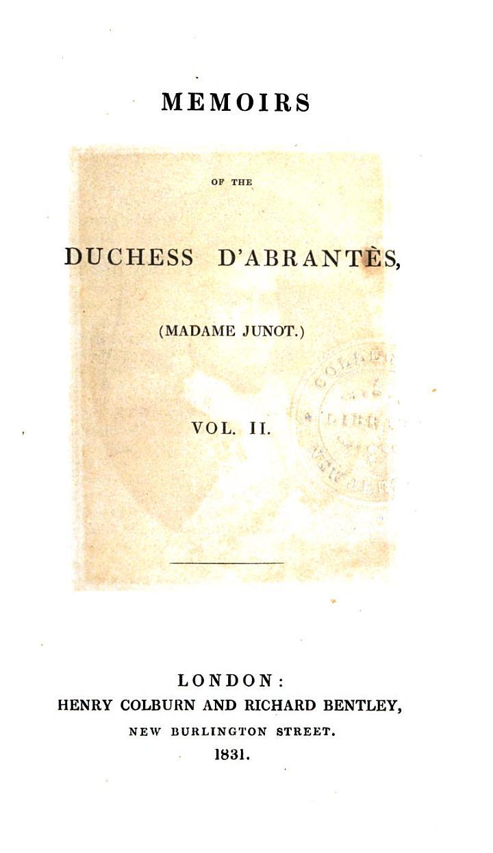 Memoirs of the Duchess D'Abrantès
