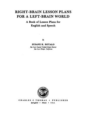 Right brain Lesson Plans for a Left brain World PDF