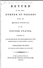 "Return of the Whole Number of Persons Within the Several Districts of the United States: According to ""An Act Providing for the Enumeration of the Inhabitants of the United States,"" Passed March the First, One Thousand Seven Hundred and Ninety"