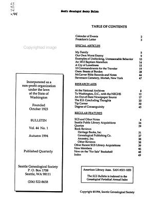 Seattle Genealogical Society Bulletin PDF