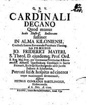 Disp. de cardinali decano, quod munus hodie illustr. Bullionaeus sustinet