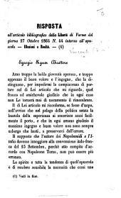 Risposta all' articolo bibliografico della Libertà di Varese del giorno 27 ottobre 1864 ... intorno all'opuscolo Illusioni e Realtà