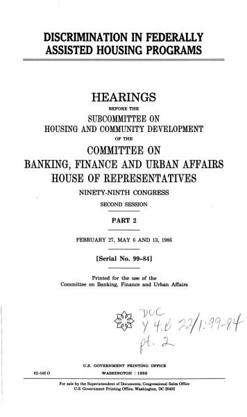 Discrimination in Federally Assisted Housing Programs PDF