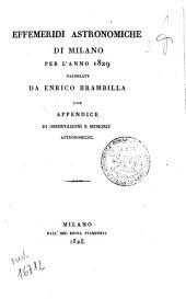 Effemeridi astronomiche di Milano per l'anno ....