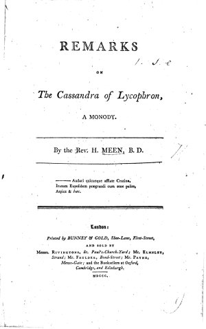Remarks on the Cassandra of Lycophron