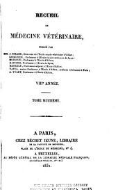 Recueil de médecine vétérinaire: Volume8