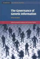 The Governance of Genetic Information PDF