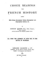 Choice Readings from French History: 1610-1815