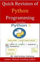 Quick Revision of Python programming PDF