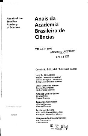 Anais Da Academia Brasileira de Ci  ncias PDF