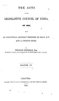 Acts of the Legislative Council of India, of 1860