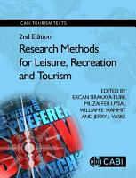 Research Methods for Leisure  Recreation and Tourism  2nd Edition PDF