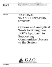 National Transportation System: Options and Analytical Tools to Strengthen DoT's Approach to Supporting Communities' Access to the System