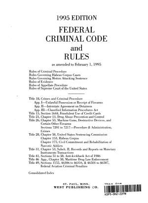 Federal criminal code and rules PDF