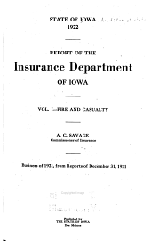 Report of the Insurance Department of Iowa: Part 1