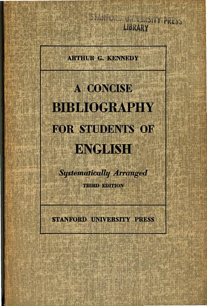 Download A concise bibliography for students of English   systematically arranged Book