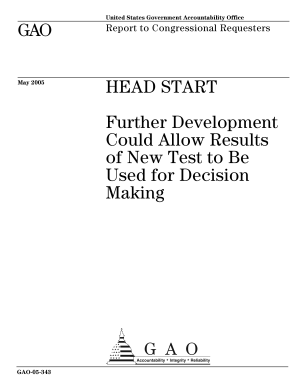 Head Start further development could allow results of new test to be used for decision making   report to congressional requesters