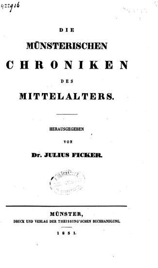 Die m  nsterischen Chroniken des Mittelalters PDF