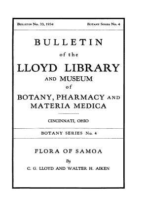Bulletin of the Lloyd Library and Museum of Botany  Pharmacy and Materia Medica