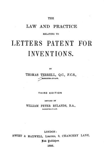 The Law and Practice Relating to Letters Patent for Inventions PDF