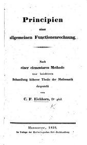 Principien einer allgemeinen Functionenrechnung