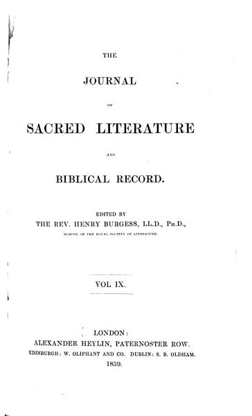 Download The Journal of Sacred Literature and Biblical Record Book