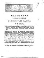 Mandement de son éminence monsigneur le cardinal Maury, pour permettre l'usage des œufs, dans la Diocèse de Paris, depuis de Mercredi des cendres inclusivement, jusqu'au Jeudi-saint exclusivement, durant la Carême de l'année 1812. ..