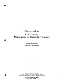 Class Activities to Accompany Mathematics for Elementary Teachers Book