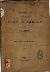 Kritische Lese verbesserter Lesarten und Erklärungen zum Talmud